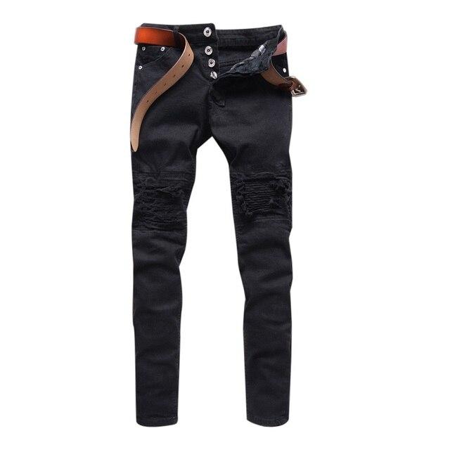 Mens Skinny jeans hombres 2016 Destroyed Ripped Pierna Recta pantalones de  mezclilla Motorista hiphop pantalones sólido 66305ff16cc