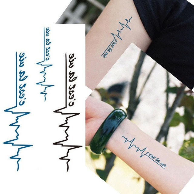 Bittb 50PCS ECG Designs Waterproof Body Temporary Tattoos,  Black Color Electrocardiogram Pattern Temporary Tattoo Stickers