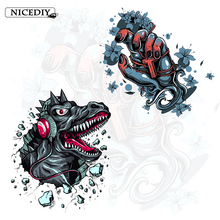 Nicediy Punk Dinosaur Patch Heat Transfer Vinyl Sticker Cross Hand Iron On Transfers Clothes Applique Washable Badge DIY