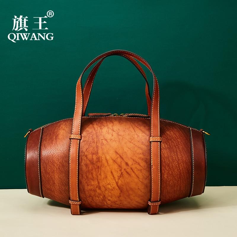 Vintage Handmade Handbag Excellent Genuine Leather Bags Wine Box Shape Richer Women s Tote Bag Real