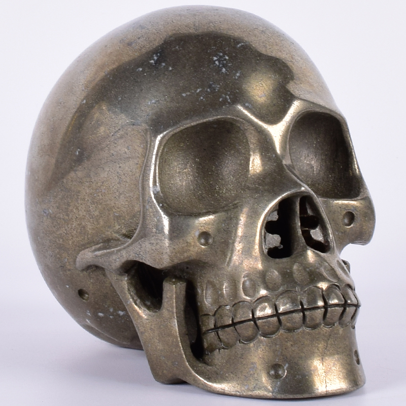 2137 Natural Copper Pyrite Stone Gold Big Skull 5 Inch Giftware Crystal Human Head Figurine Gemstone Carving healing Art Decor2137 Natural Copper Pyrite Stone Gold Big Skull 5 Inch Giftware Crystal Human Head Figurine Gemstone Carving healing Art Decor