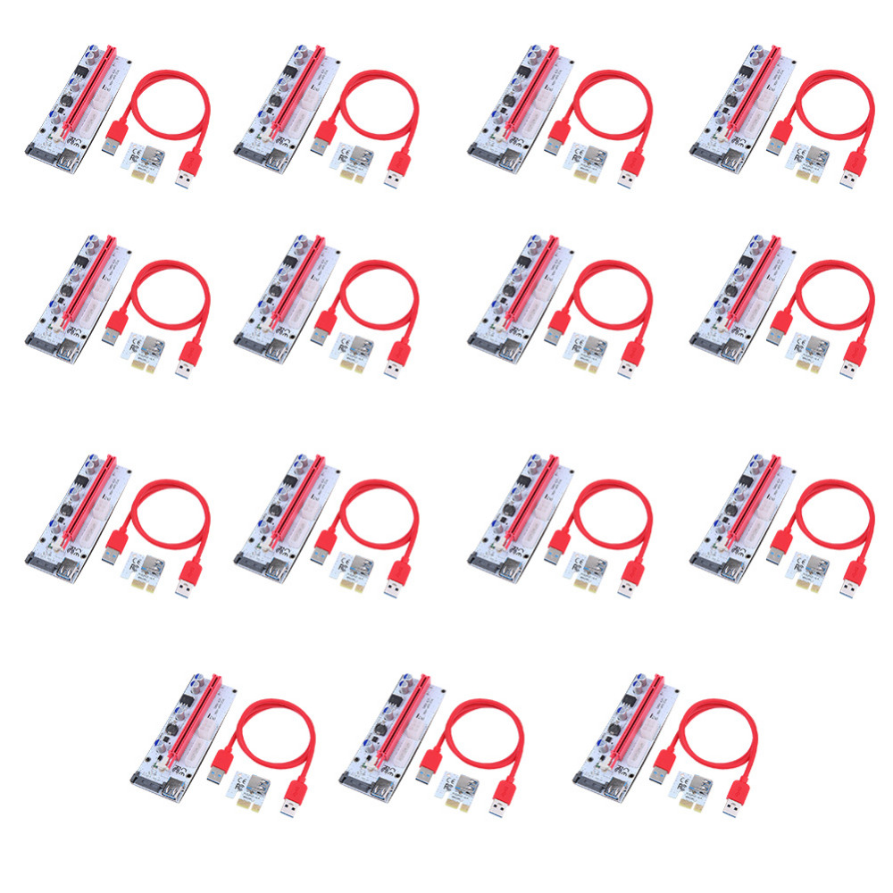 VODOOL 15PCS Riser Cards 15x60cm 008S PCI-E Riser 1X 16X USB3.0 Adapter Card Cable Wire for BTC Miner Mining 2008 donruss sports legends 114 hope solo women s soccer cards rookie card