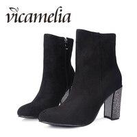 Vicamelia/модные женские ботильоны на не сужающемся книзу массивном каблуке; короткие ботинки на молнии; женская обувь на высоком каблуке со стр...