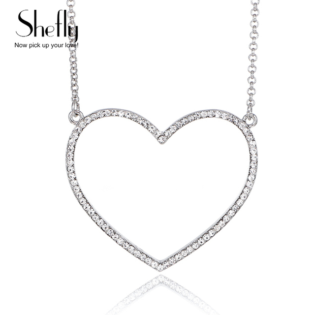 Big Heart Pendant Necklace Women Jewelry Birthday Party Gift Crystal Silver Gold