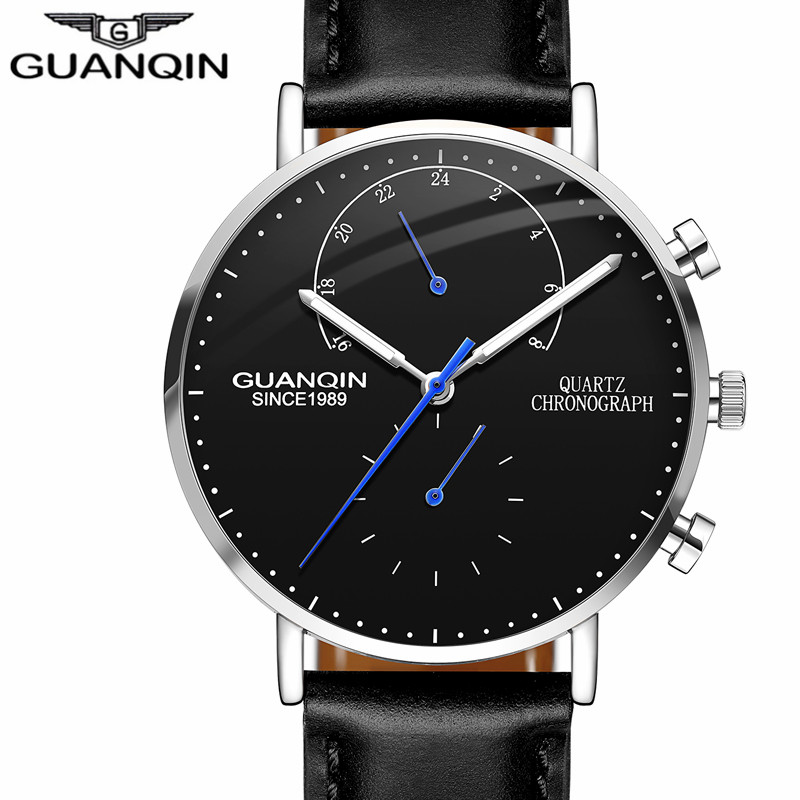 relogio masculino GUANQIN Mens Watches Top Brand Luxury Chronograph Luminous Analog Quartz Watch  Men Sport Leather Wristwatch relogio masculino guanqin mens watches top brand luxury chronograph luminous quartz clock men sport stainless steel wrist watch