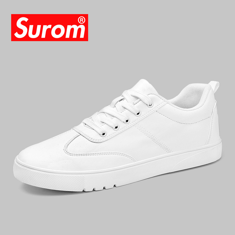SUROM Autumn White Sneakers Men Leather Casual Shoes Lace Up Classic Designer Mens Krasovki Fashion Male