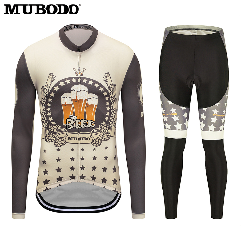 MUBODO 2018 Pro Team Long Jersey Sets I LIKE BEER downhill jersey mens mountain bike jersey Sunscreen Breathable riding clothes