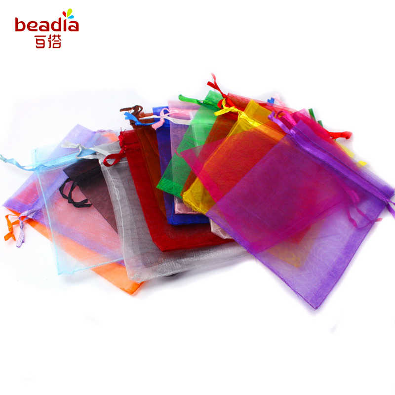 Hot Sale 7x9cm/9x12cm 50pcs/bag Pick 16 Colors Jewelry Packaging Drawable Organza Bags,Gift Bags & Pouches,Jewelry Packing Bags
