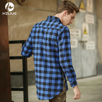 HZIJUE 2018 mens היפ הופ אופנה בגדי גברים חולצה רוכסן משובץ סגנון מערב kanye ג 'סטין ביבר עירוני זכר משובץ חמה מכירת חולצות