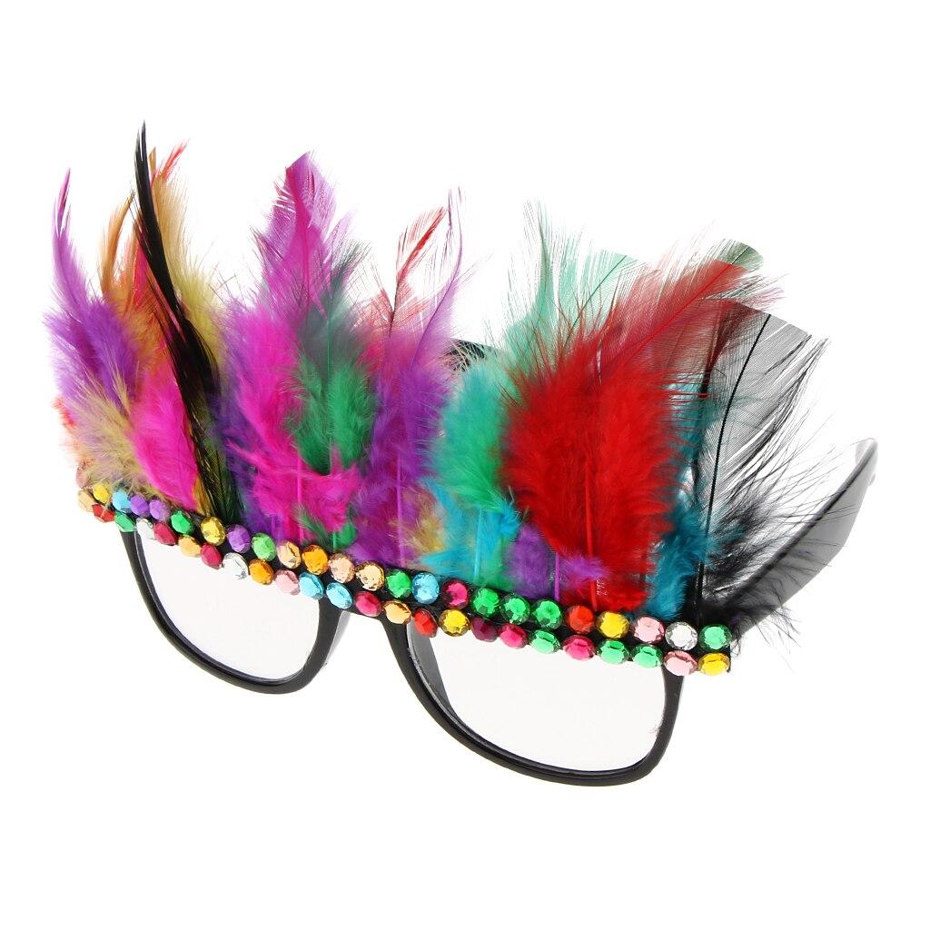 Fashion Christmas Party Eyeglasses Colorful Diamante Feather Glasses Fancy Dress Birthday Photo Props Colorful Feather Glasses