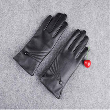 snowshine #1501 Luxurious Women Girl Leather Winter Super Warm Gloves Cashmere free shipping