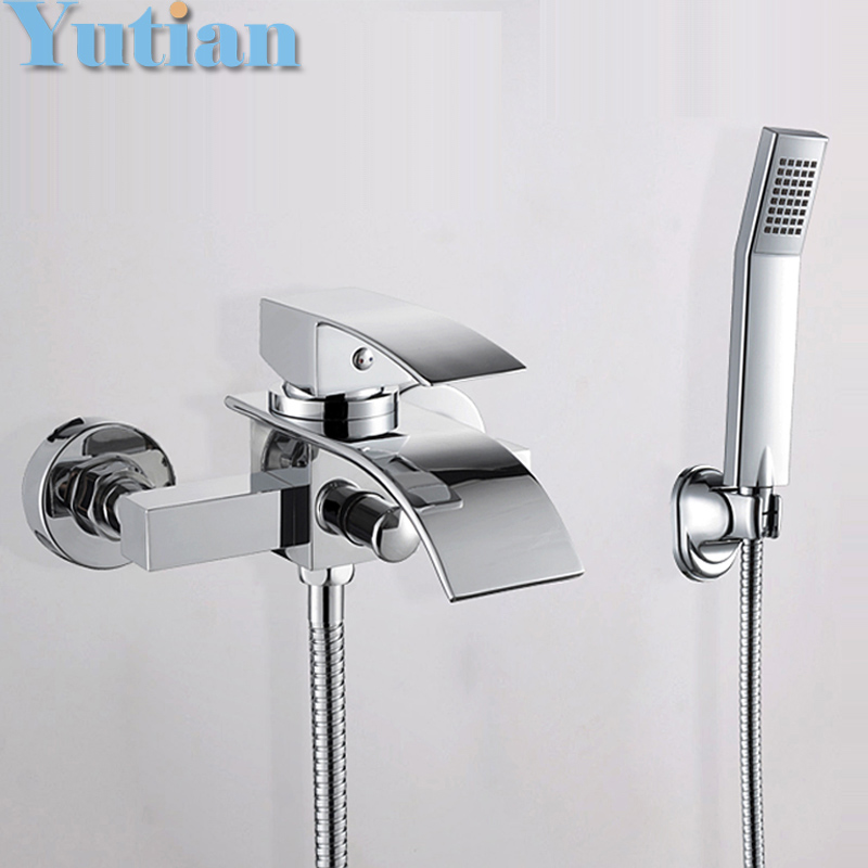 Free shipping Polished Chrome Finish New Wall Mounted Waterfall Bathroom Bathtub Handheld Shower Tap Mixer Faucet  YT-5330 new us free shipping simple style golden finish bathtub faucet mixer tap shower faucet w ceramics handheld shower wall mounted