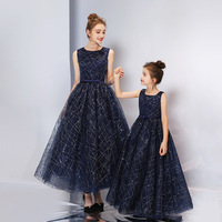 2019 Fashion new parent child wear women's dress summer princess dress awning host host evening dress children's dress