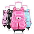 Школе для девочек, рюкзак с колесами дети путешествовать сумка тележка розовый колесных сумка pu кожаные дети школьные сумки для подростков backbag