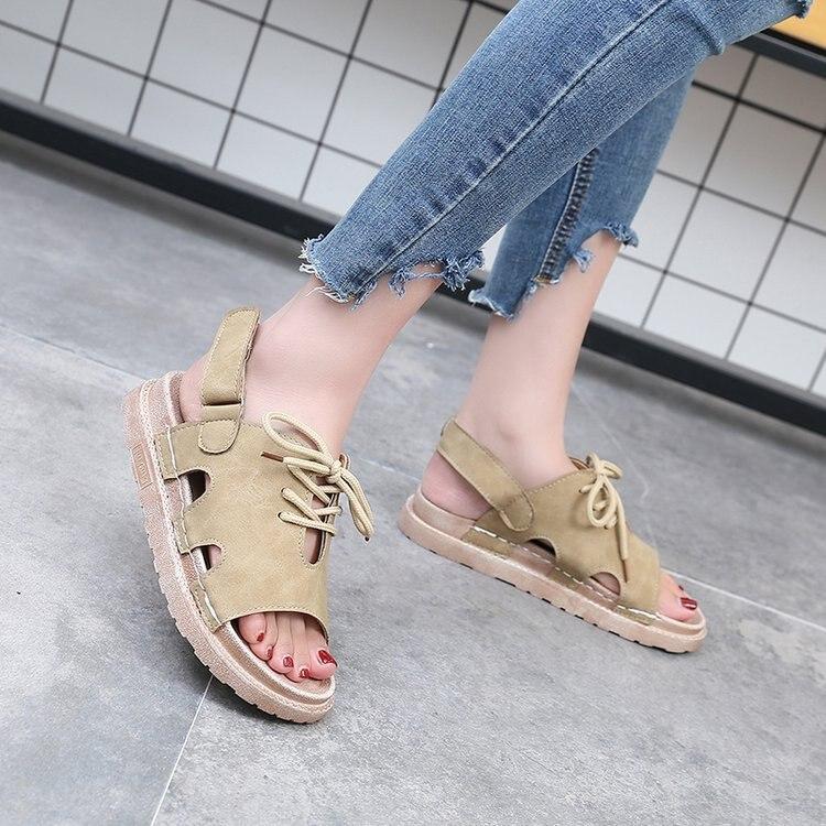 Zapatos Casual Verano Toe caqui Sandalias De Lace Plana verde Con Moda up Plataforma Mujeres Básico Peep Mujer Negro HOT7SqO