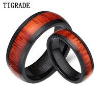 Tigrade 6mm & 8mm Titanyum Yüzük Set Siyah Ahşap Kakma Kubbeli Düğün Band Comfort Fit Nişan Çift Yüzük Kadın Erkek için