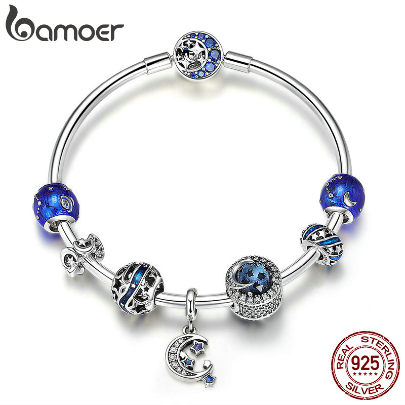 BAMOER Authentic 925 Sterling Silver Sparkling Star and Moon Blue Enamel Bracelets Bangles for Women Silver