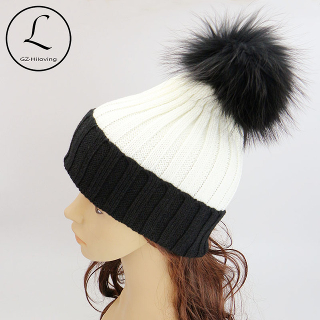 GZHILOVINGL 2016 New Winter Fashion Girls Womens Mens Hat Black White Hat Knitted Acrylic Beanies Hats With Big Real Fur Pom Pom