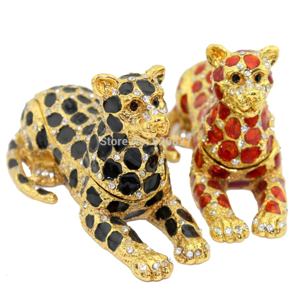 wild jaguar Leopard Jewelled Trinket Box Jewelry Box Handmade Jeweled Metal