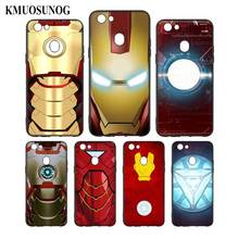 Silicone Phone Bag For OPPO F5 F7 F9 A5 A7 R9S R15 R17 Black Soft Case Iron Man Super Hero Style