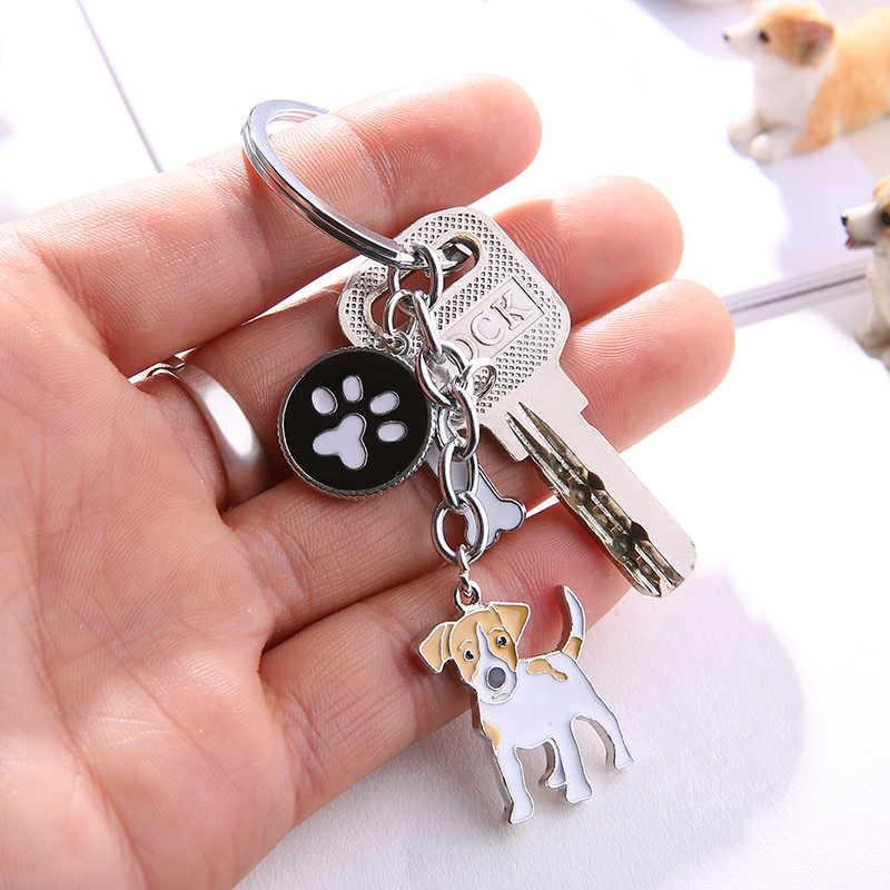 Джек Рассел терьер брелки для женщин мужчин девочек из сплава серебряного цвета металлическая собака подвеска брелок для ключей автомобиля сумка для ключей кольцо для ключей с подвеской