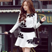 Original New Arrival 2016 Brand Spring and Autumn Korean Plus Size Elegant Long Sleeve Women Sets Top and Skirt Wholesale