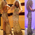 2015 Sexy Vestidos  Arabia Myriam Fares Sweetheart Gold Sequined Lace Mermaid Formal Gown Celebrity Dress DYQ940
