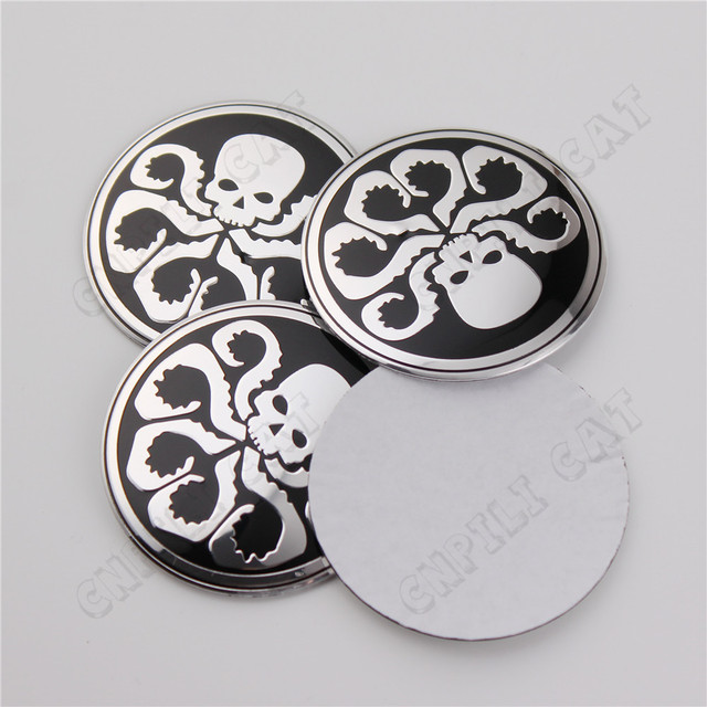 4x 3d hydra skull octopus car auto steering wheel center rim hub cap emblem badge stickers