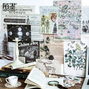Retro Big size sticker bag Plant Notes/Vintage Travel/Skeleton Specimen/Renaissance Decorative Sticker DIY Scrapbooking Sticker(China)