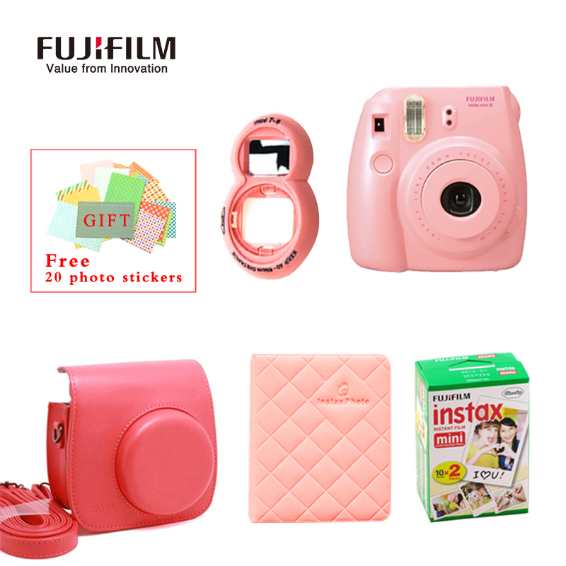 Fujifilm Fuji Instax Mini 8 Instant Film Photo Camera + Mini 8 Bag + Lens + 20 Sheets Film + 36 Pockets Photo Case Free Shipping new 5 colors fujifilm instax mini 9 instant camera 100 photos fuji instant mini 8 film