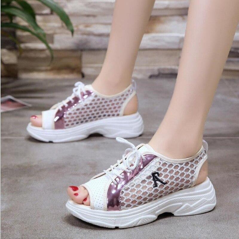 2018 nuevo verano coreano muffin cabeza de pescado sandalias de las - Zapatos de mujer