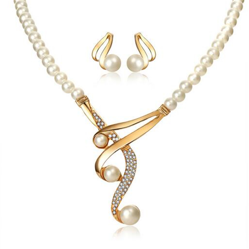 ZOSHI Simulated Pearl Jewelry Sets Fashion Gold Color Crystal Chocker Statement Necklace And Stud Earrings Women Wedding Bridal