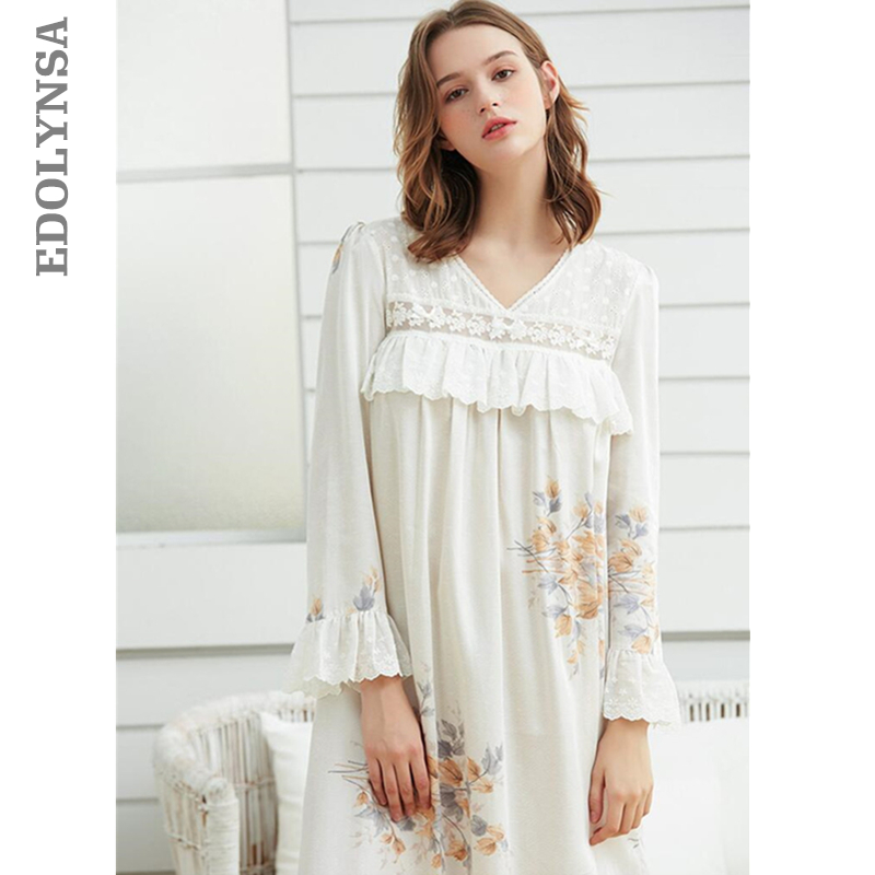 Elegant Autumn Sleepwear Women Long Cotton Nightgown Vintage Draped Flare Sleeeve White Home Wear Night Dress Sleep Shirt T372 nightgown