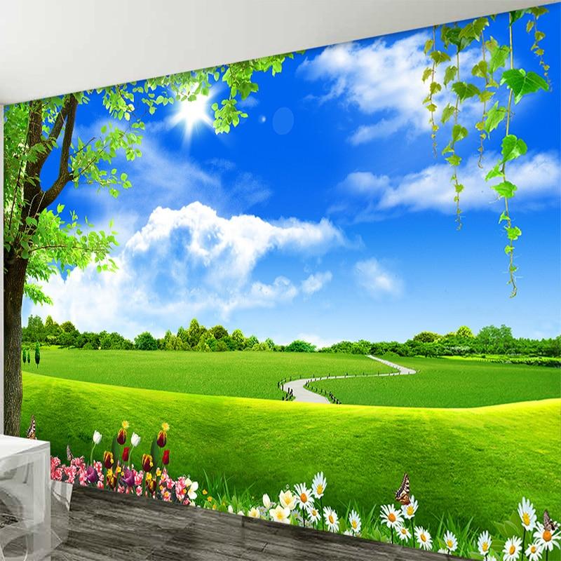 Custom 3D Mural Wallpaper Blue Sky White Cloud Tree Scenery Living Room TV Sofa Background Non-Woven Straw Wallpaper Decor Mural