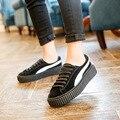 2017 Новый Бренд Обувь Мода на шнуровке Плоская Платформа Женская Обувь Дышащая Натуральная Кожа Тапки Высота Увеличение Повседневная обувь