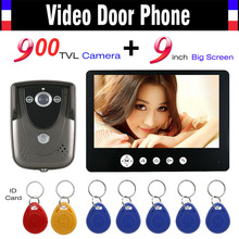 Video Intercom Door Phone System 9 Inch Monitor 900TVL HD Camera 7pcs RFID Keyfob Wired Video Doorbell IR Night Vision Camera