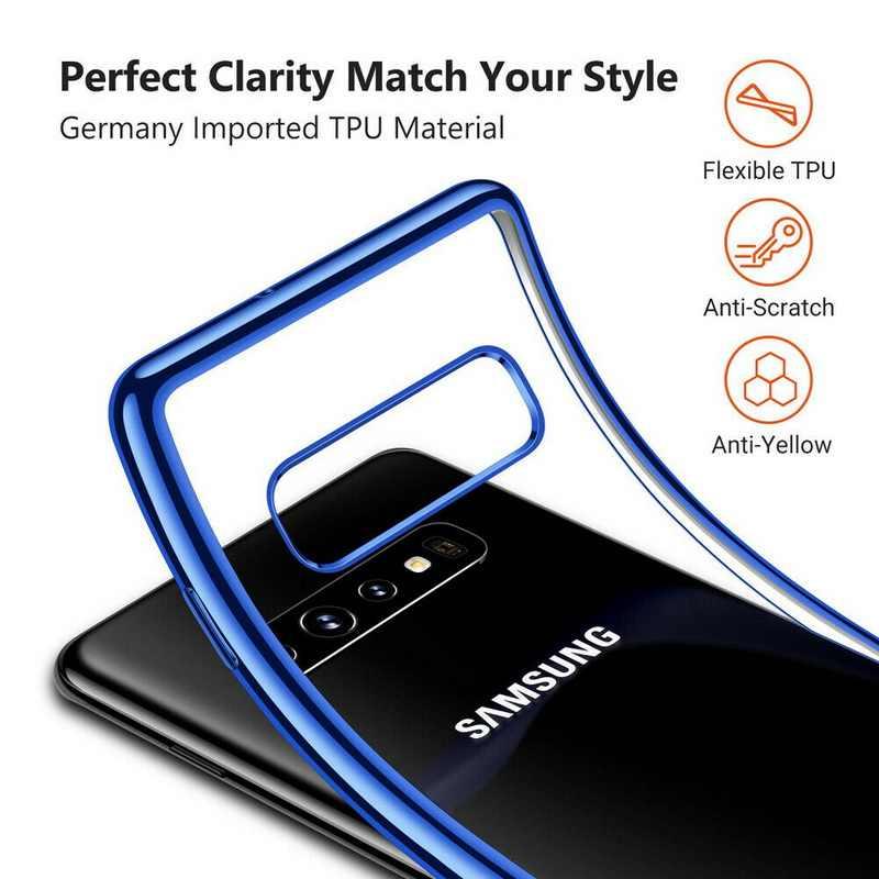 YISHANGOU Transparent Téléphone étui pour samsung Galaxy S10 S10 Plus S9 S8 Plus A8 Placage De Luxe Cadre Housse En Silicone Souple