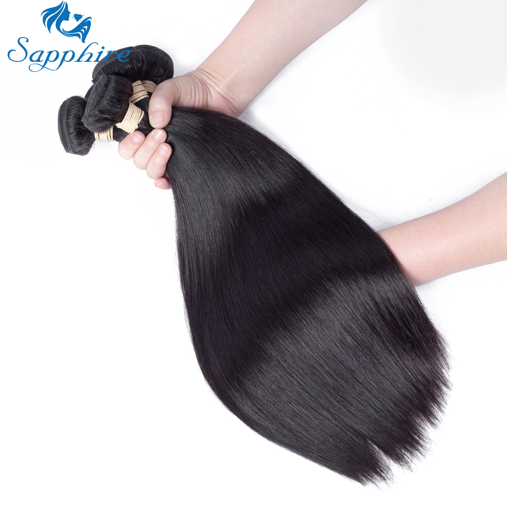 Sapphire Malaysian Straight Hair 100 Human Hair Weave Bundles Natural Color Remy Hair Extensions Free Shipping