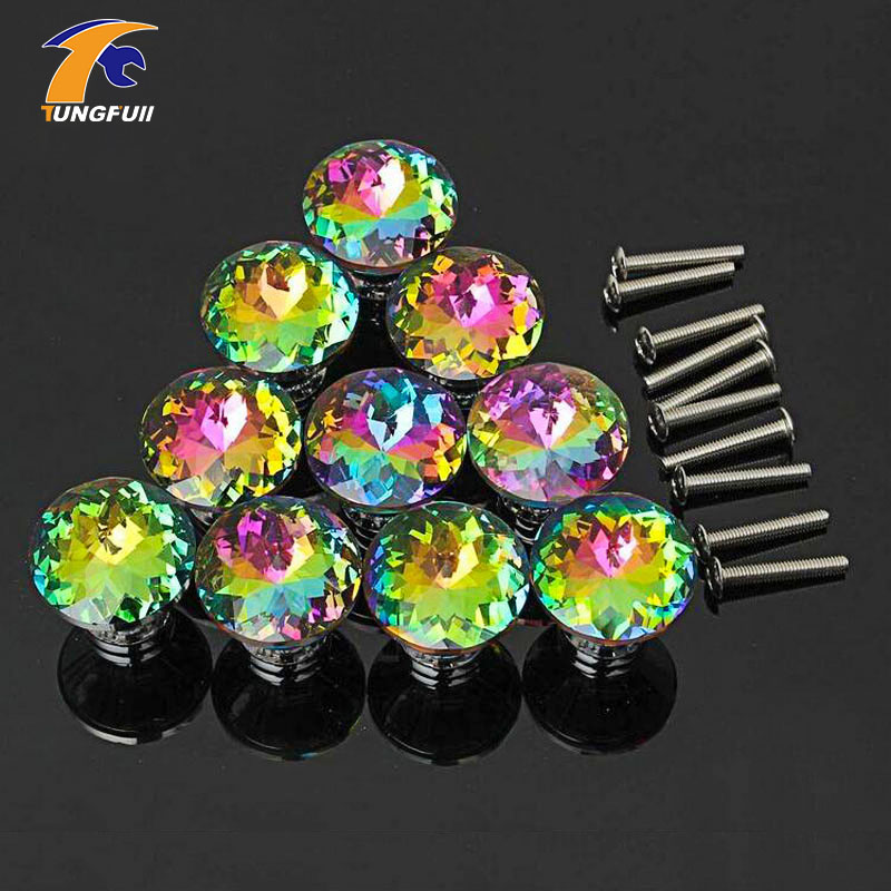 Hot Selling 10 Pcs Multicolor Crystal Glass Clear Cabinet Knob Drawer Pull Handle Kitchen Door Wardrobe Hardware hot selling fast shipping 10 pcs multicolors crystal glass clear cabinet knob drawer pull handle kitchen door wardrobe hardware