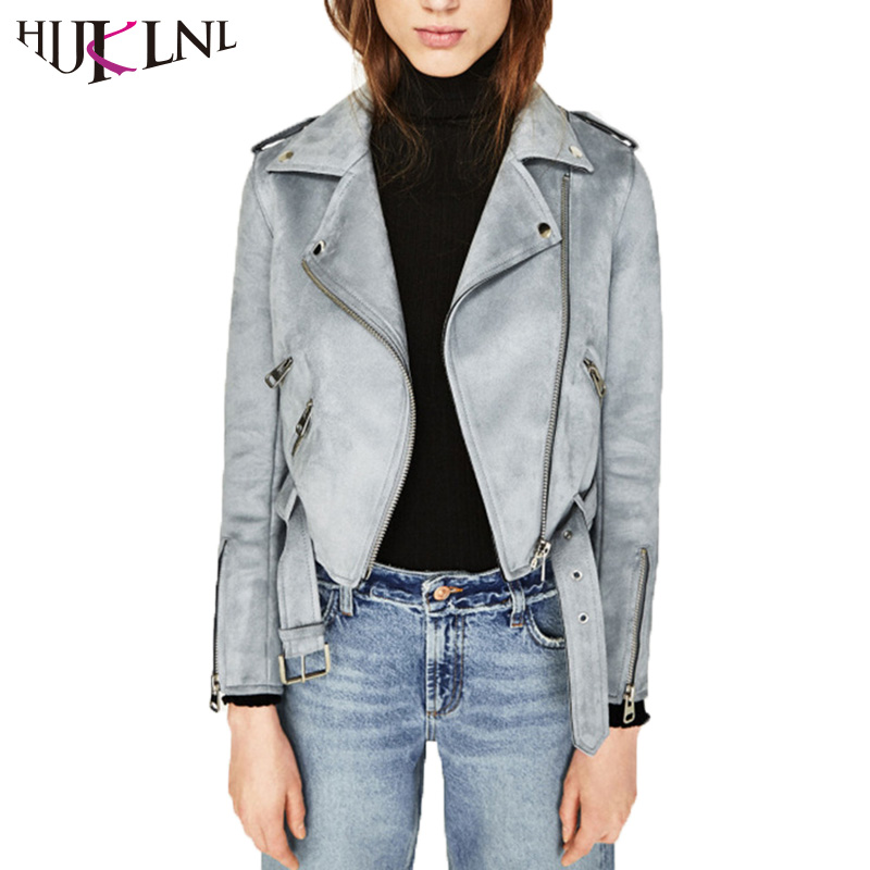 HIJKLNL Women Autumn Winter Suede Leather Basic Jacket ...