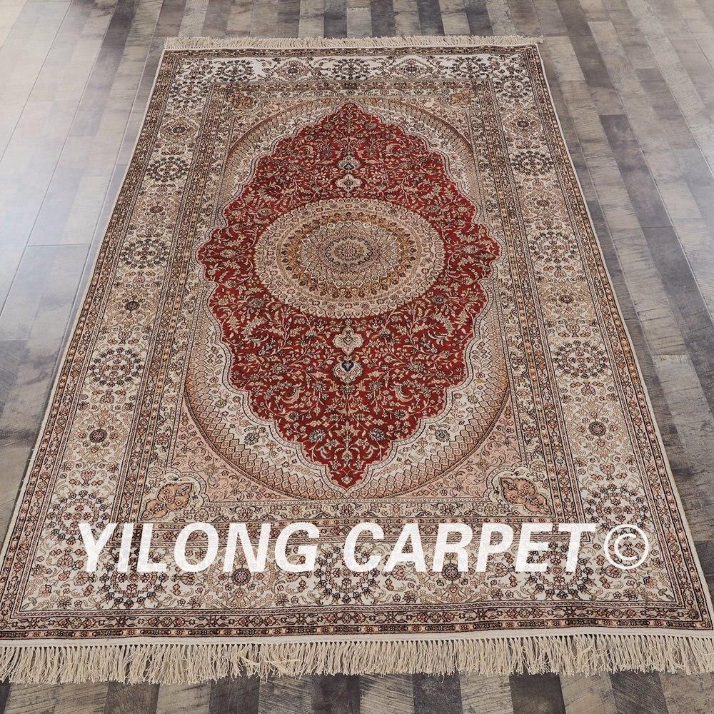 YILONG 5'x8 'oriental chine tapis de soie fait main rouge noué à la main tapis de soie turque (YHW435B5x8)