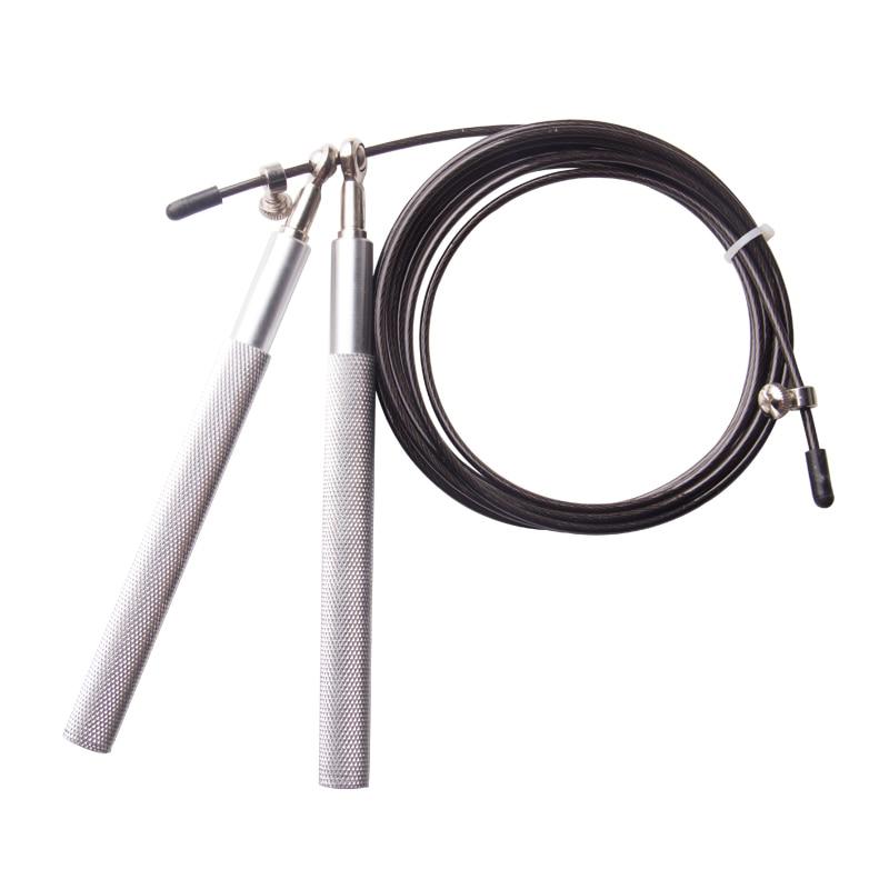 2016-os alumínium fogantyúú acélkábel huzal Nagyon nagysebességű ugrálható állítható ugrókötél edzés Fekete ingyenes szállítás