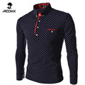 2016 New Brands Mens Dot Long Sleeve POLO Shirts Brands  Long Sleeve Camisas Polo Stand Collar Male Polo Shirt Size 3XL. KJHBA