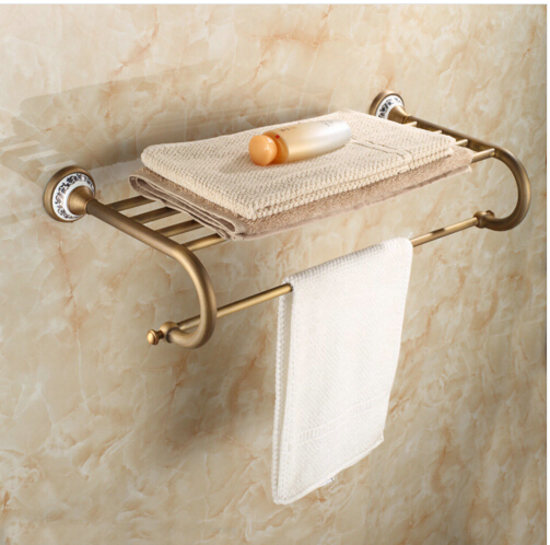 Antique Porcelain Fixed Bath Towel Holder Wall Mounted Towel Rack Brass Towel Shelf Bathroom Accessories bathroom thickened antique bath towel frame wall hanging rack full copper bathroom accessories set fixed towel rack