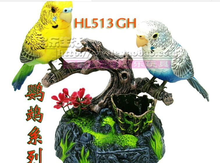 about 15x13x13cm electric birds Voice control Couples parrots Toy Christmas gift w6980