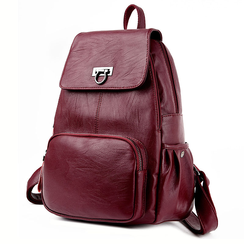 Fashion Women Soft Leather Backpack Female Bag Ladies Backpacks Preppy Style School Bag for Teenage Girls Mochila Daily Backpack korea style fashion backpacks for men and women waterproof preppy style soft backpack unisex school bags big capacity bag xa893b
