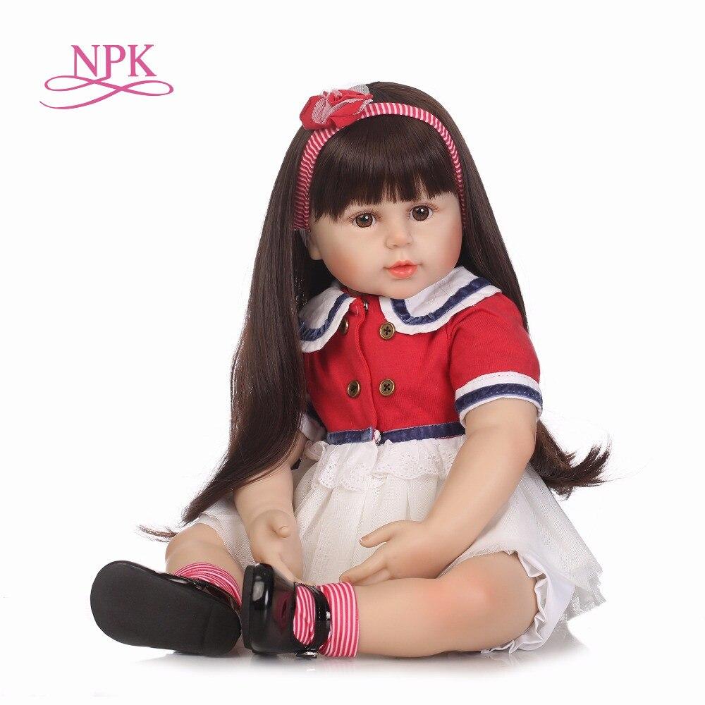 NPK 55 cm Silicone Reborn bambola bambola di Stoffa Del Corpo Con Peluche Teddy Bear BabyDoll bambini Compagno di Giochi Regalo Per Le Ragazze Del Bambino Vivo giocattoli Bambino Reborn