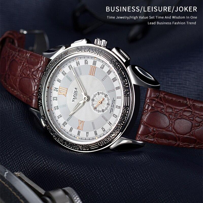 YAZOLE Homens Relógio De Luxo Relógio de Couro Dos Homens de Negócios Relógios de Quartzo relógio de Pulso Dos Homens reloj hombre # saat Relógio de Moda Para Homens 2019
