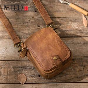 ce6ad875e2 AETOO Retro male Messenger mini casual leather shoulder bag