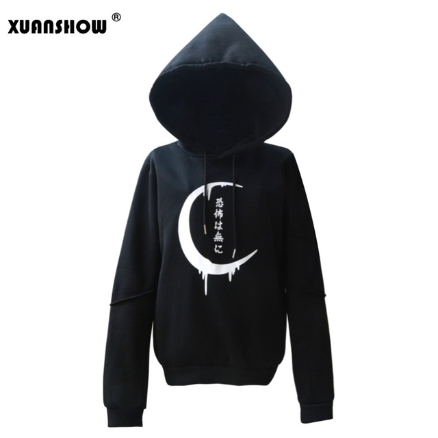 XUANSHOW 2018 New Winter Autumn Hooded Sweatshirt Long Sleeve Big Hat Hoodies For Women Moon Printed Punk Style Female Clothing